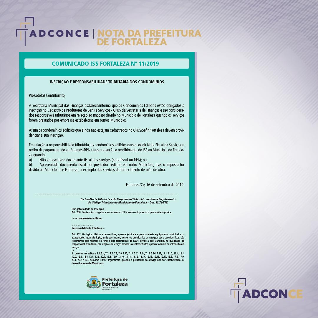Comunicado ISS Fortaleza nº 11/2019 – Inscrição e Responsabilidade Tributária dos Condomínios